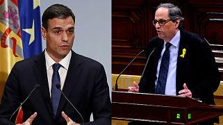 Pedro Sánchez recibe por primera vez al presidente catalán en busca del deshielo