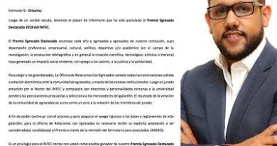 INTEC otorgará Premio Egresado Destacado 2018; ingeniero Leonardo Grisanty figura entre los postulados