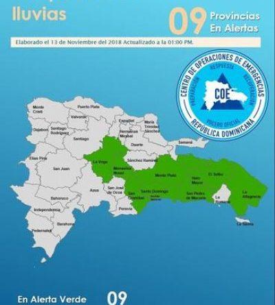 COE emite alerta para ocho provincias y el Gran Santo Domingo