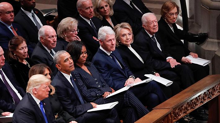 El frío encuentro entre Trump y los ex presidentes de EE.UU. durante el funeral de George H.W. Bush