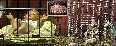 Una iglesia en Massachusetts crea controversia por niño Jesús migrante en jaula y reyes magos en valla