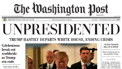 Distribuyen falsa edición de The Washington Post que anuncia la renuncia de Trump