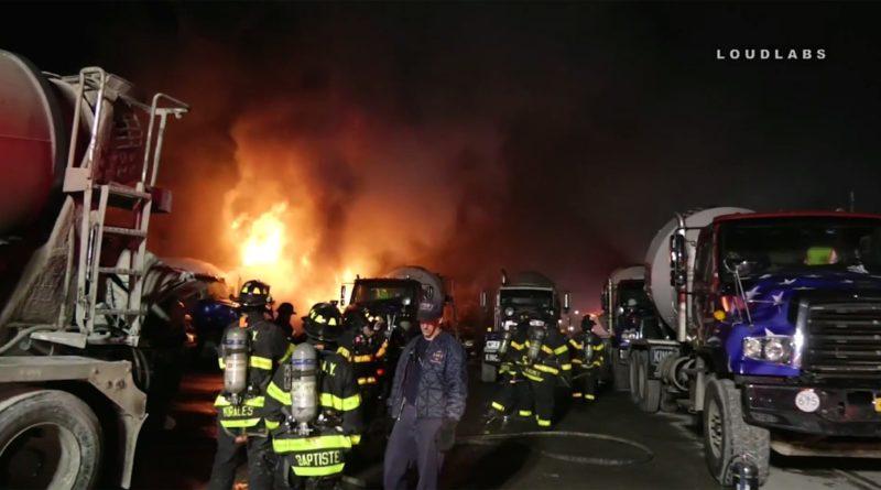 Con una bomba molotov incendian 16 camiones mezcladores de cemento en Brooklyn