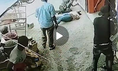 Cámara capta momento en que hombre mata una mujer e hiere al esposo en mercado de San Juan