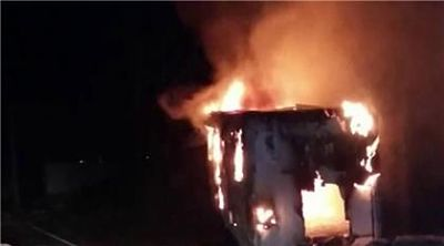 Desaprensivos incendian cuartel móvil de la PN en Samaná