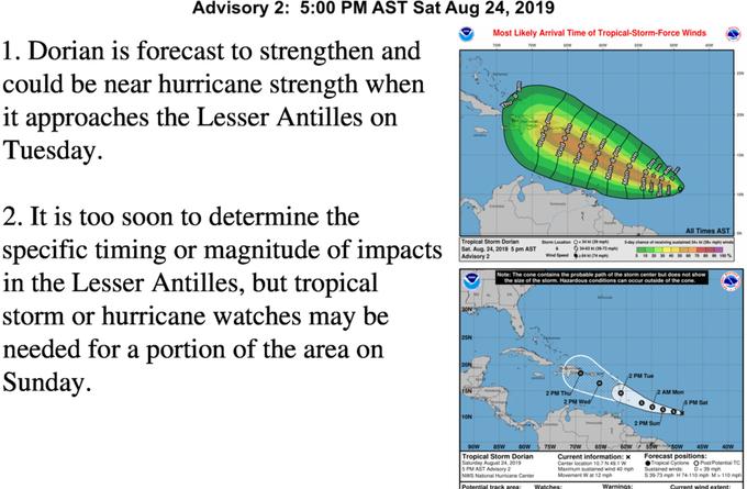 ALERTA:La tormenta tropical Dorian amenaza con llegar como huracán a PR y RD