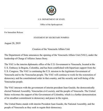 """EE.UU. abre una """"unidad de asuntos para Venezuela"""" en la sede de su Embajada en Colombia"""