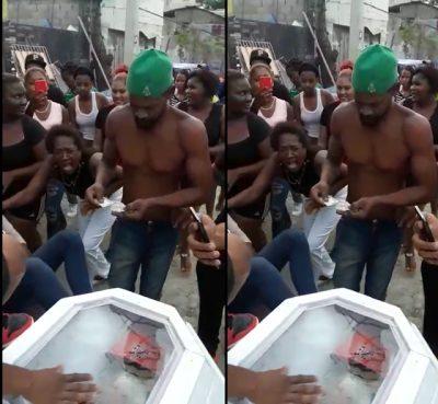 DEGENERACIÓN MORAL ¡ Entre consumo de droga al aire libre música y rombo entierran de un supuesto delincuente en un barrio de Santo Domingo.