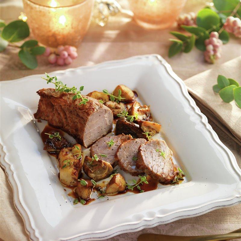 Solomillo de cerdo con salsa y setas