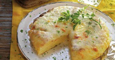 Tortilla de patata y puerro gratinada