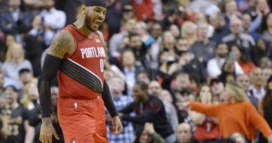 Carmelo Anthony logra enceste del triunfo de Blazers sobre Raptors