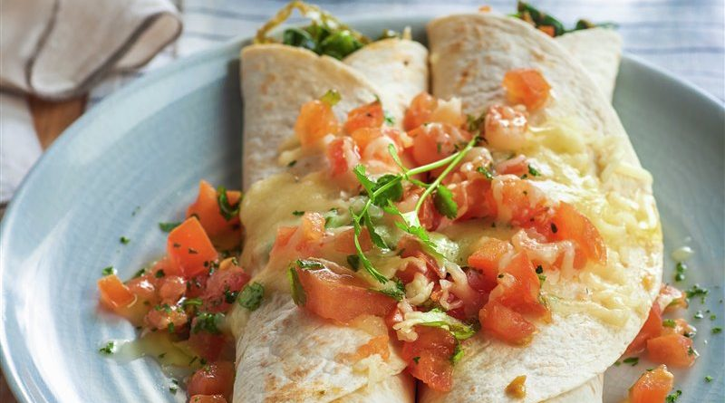 Enchiladas de langostinos y veduras