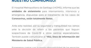 """Hospital Metropolitano de Santiago """"unidades para pacientes positivos a COVID-19 están llenas"""""""