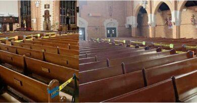 Iglesias católicas reabiertas en NY parecen escenas de crimen con cintas policiales para distancia social
