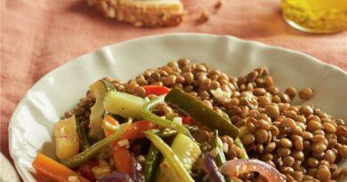 Lentejas con estofado de hortalizas al azafrán