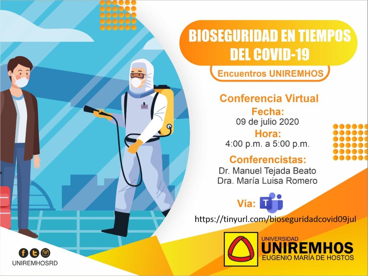 """Encuentro UNIREMHOS"""" comienza el próximo 09 de julio con el webinar Bioseguridad en tiempos del COVID-19"""