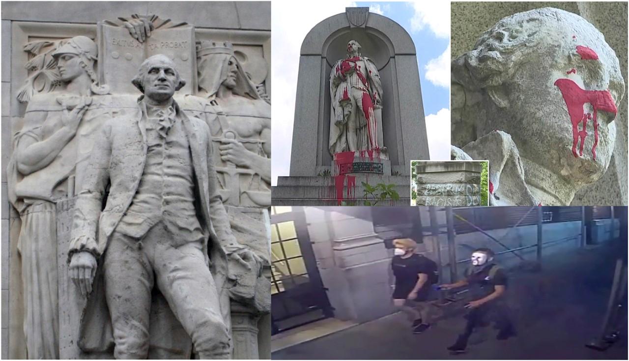 """Por acusarlo de """"esclavista y asesino"""" anarquistas atacan estatuas de George Washington en Manhattan"""