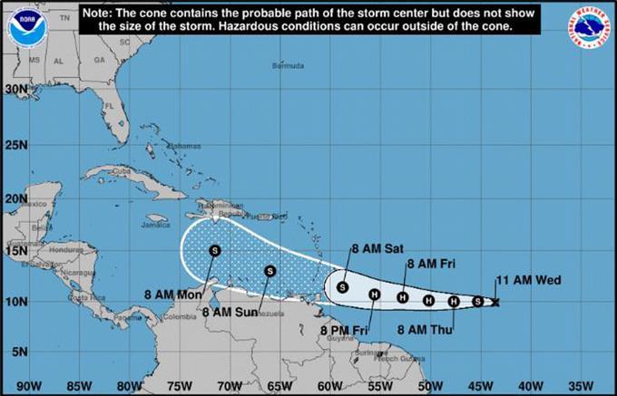 Tormenta tropical Gonzalo se convertirá hoy en un huracán