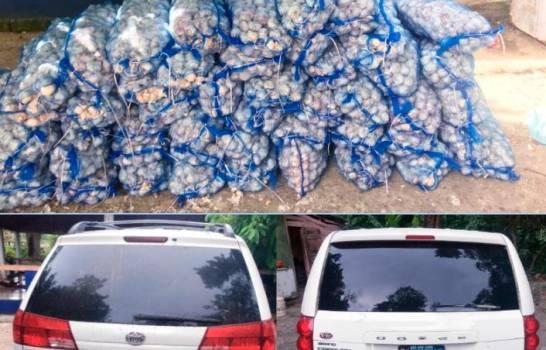 Abandonan dos vehículos cargados de ajo en Puerto Plata