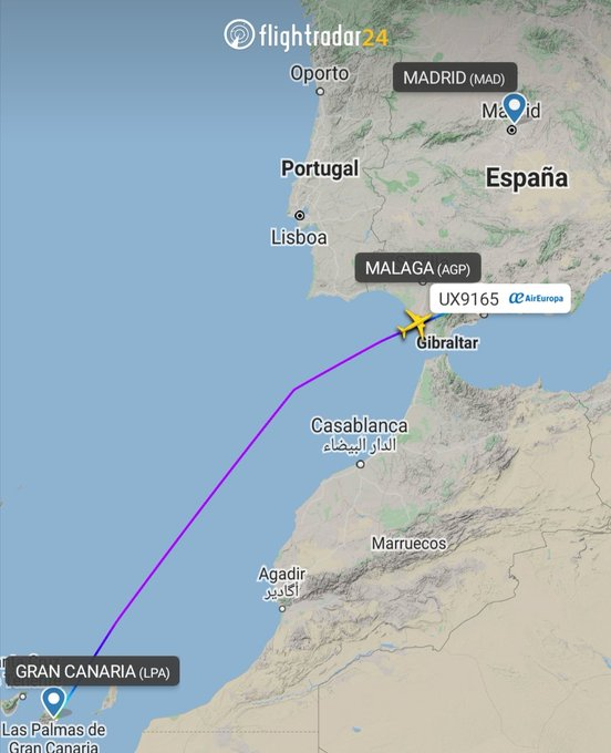 España: Desvían un vuelo de Gran Canaria a Madrid por un pasajero conflictivo