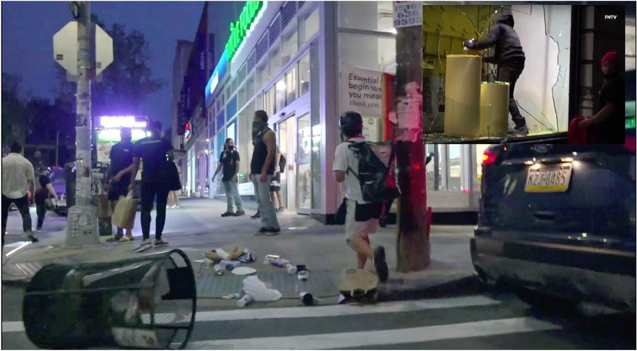 Manifestantes del grupo Antifa vuelven a destruir tiendas y comercios durante protestas en Brooklyn