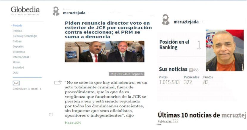 Reportero Cruz Tejada sobrepasa el millón de entradas en la plataforma internacional Globedia