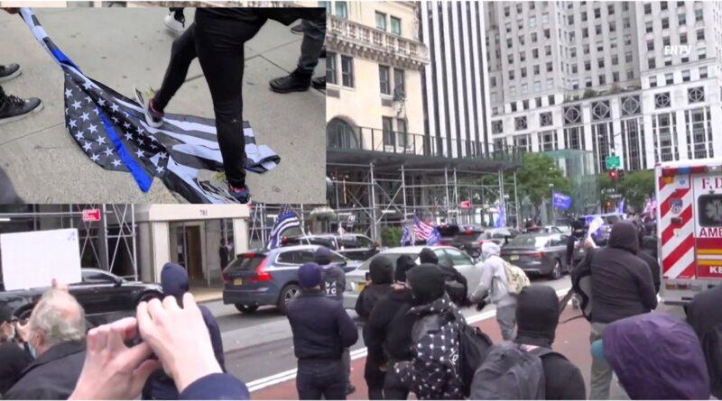 Indignados enfrentan a huevazos caravana de Trump en Manhattan y suspenden policía por campaña republicana