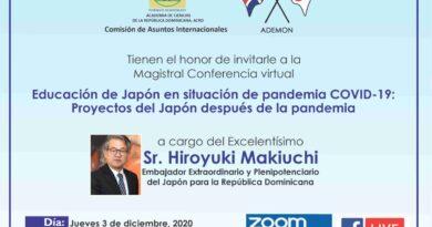 Embajador Japón en RD ofrecerá conferencia este jueves sobre situación COVID-19 y sus proyectos después