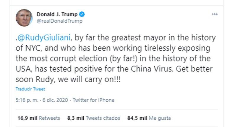Rudolph Giuliani, ex alcalde de Nueva York y abogado del presidente Trump, tiene coronavirus