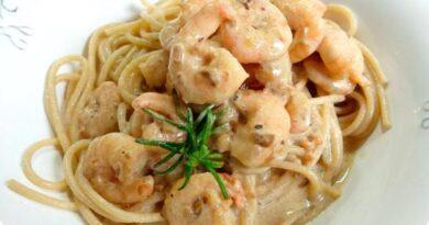Receta de Pasta con camarones en salsa blanca