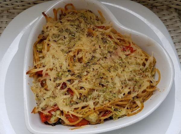 Espaguetis gratinados al horno