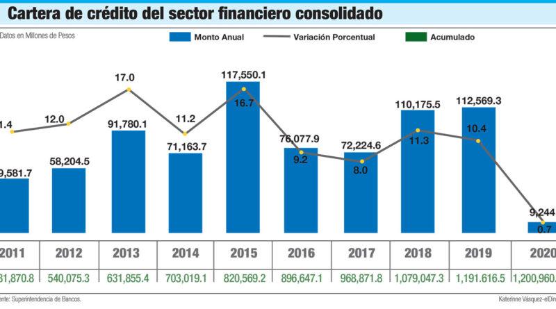 Cartera de créditos del sector financiero dominicano apenas creció un 0.7% en 2020