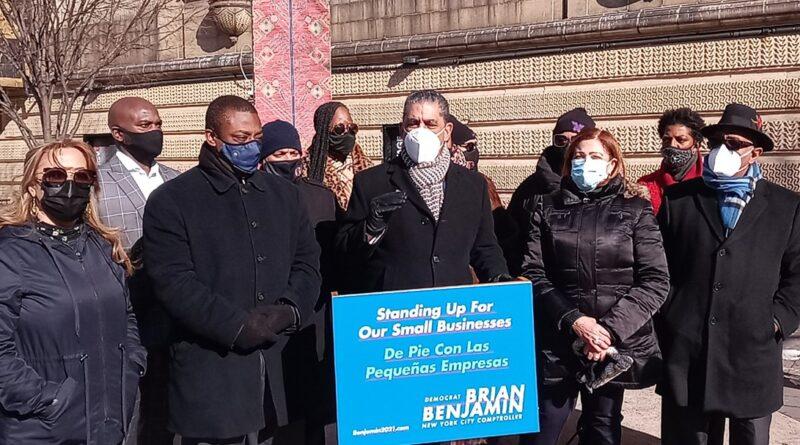 Espaillat y comerciantes del Alto Manhattan lanzan apoyo al senador Benjamín para contralor de Nueva York