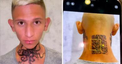"""""""Me salió fake"""": Un 'influencer' colombiano se tatúa en la nuca el código QR de Instagram para abrirlo en un móvil y ahora no funciona"""