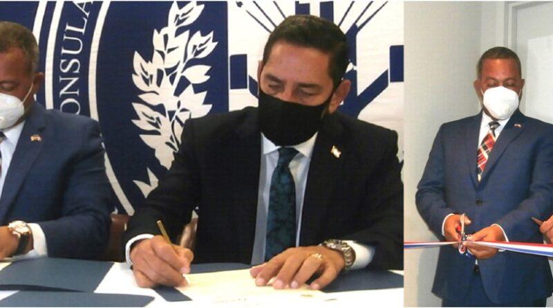 Jáquez y director de INTRANT firman acuerdo para facilitar licencias a dominicanos en el exterior en oficina inaugurada en consulado