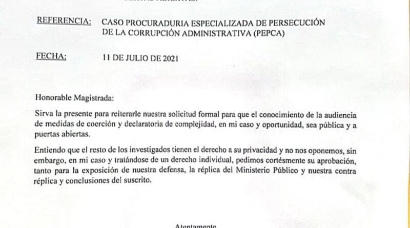 Exprocurador Jean Alain Rodríguez solicita mediante carta transmisión en vivo de medida de corrección para este lunes Ministerio Público ha manipulado interés que él ha reiterado en que población lo escuche durante el proceso.