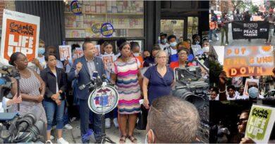 Líderes dominicanos encabezan masiva marcha contra la violencia armada en El Bronx