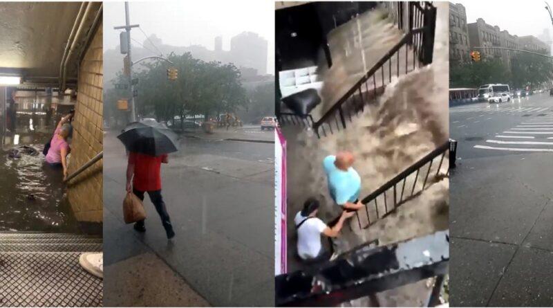 Tormenta tropical Elsa inunda amplias áreas del Alto Manhattan anegando calles, edificios y trenes