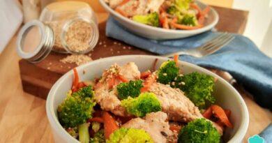 Receta de Fajitas de pollo con brócoli y zanahoria