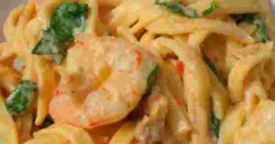 Receta de Tallarines a la crema de camarones