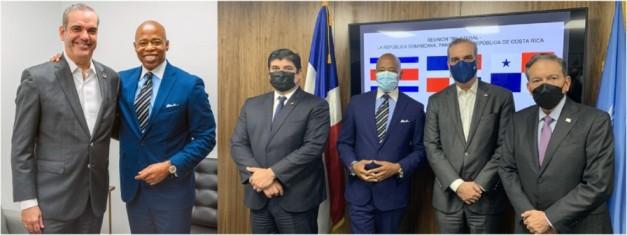 Eric Adams se reúne con Abinader y presidentes de Panamá y Costa Ricaen Misión Dominicana ante la ONU